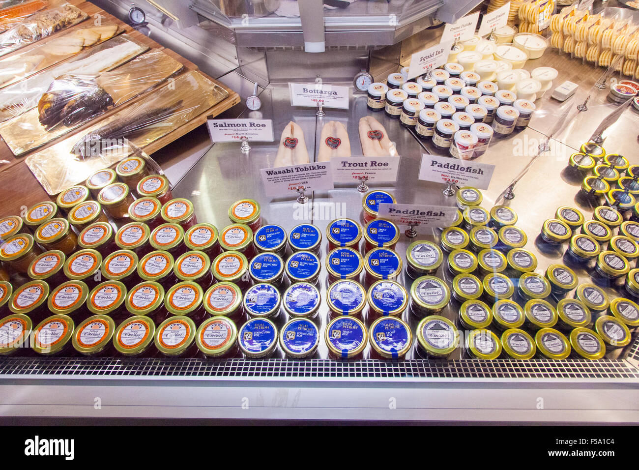 Caviar and fish eggs for sale at The Lobster Place seafood Market  Chelsea Food Market, New York City, United States - Stock Image