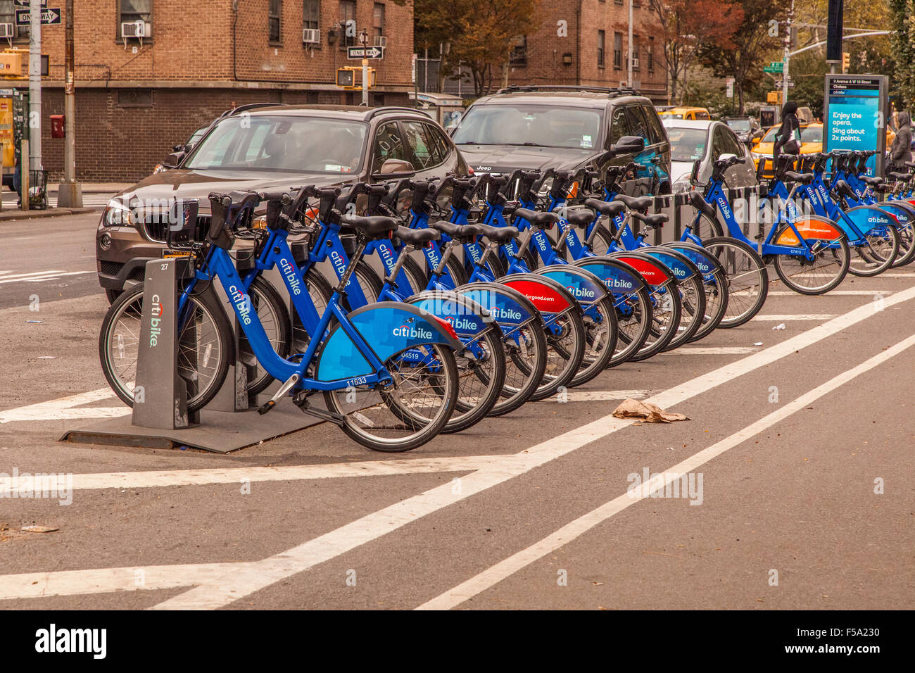 Citi-bike station, Citibike is a bicycle-sharing system or bike-share scheme, Based in New York City, United States - Stock Image