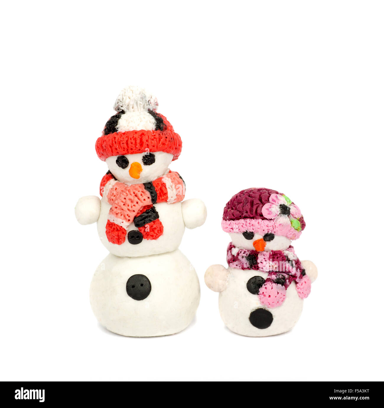 Hand Made Plasticine Or Modeling Clay Figure Of Snowman On White Background Christmas Decoration
