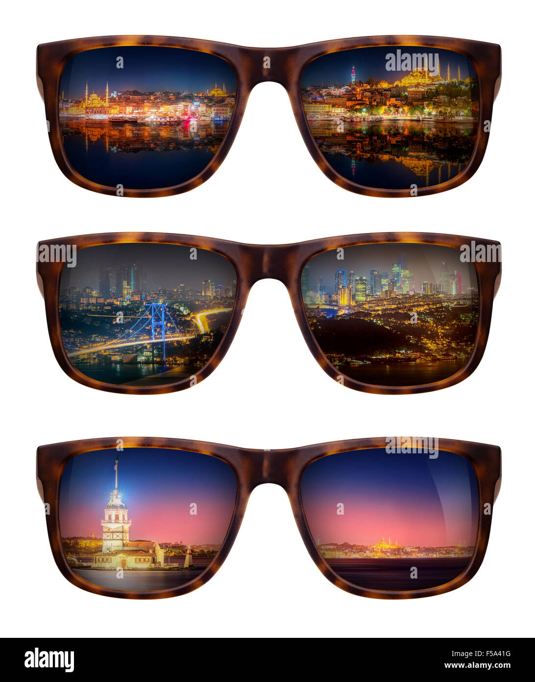Trendy sunglasses with a reflection of a beautiful panorama of Istanbul isolated on white - Stock Image