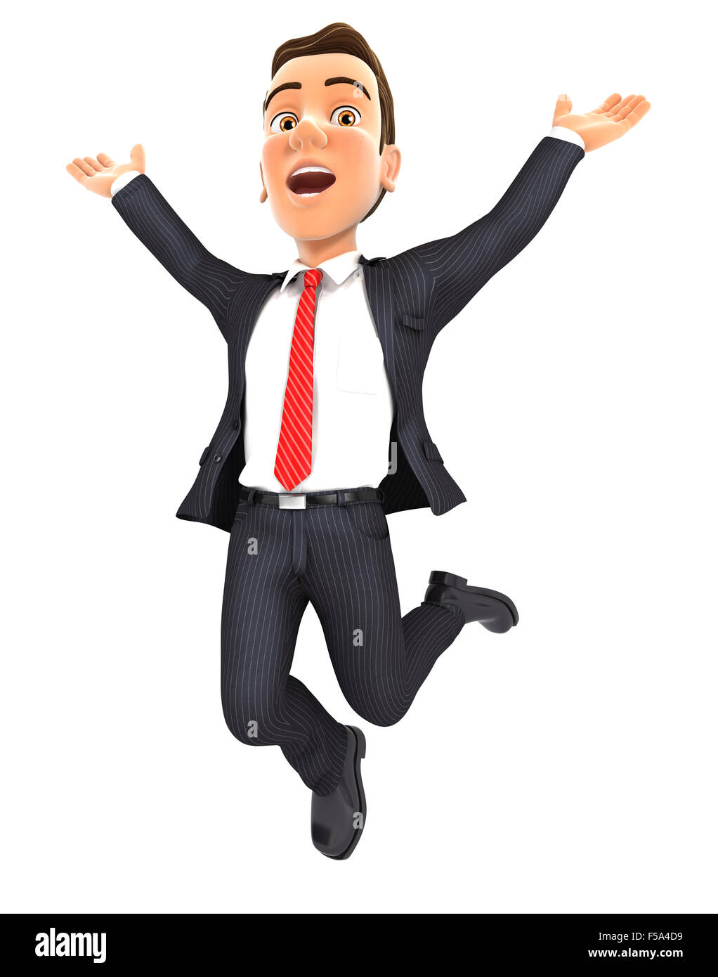 3d businessman jumping for joy, isolated white background Stock Photo