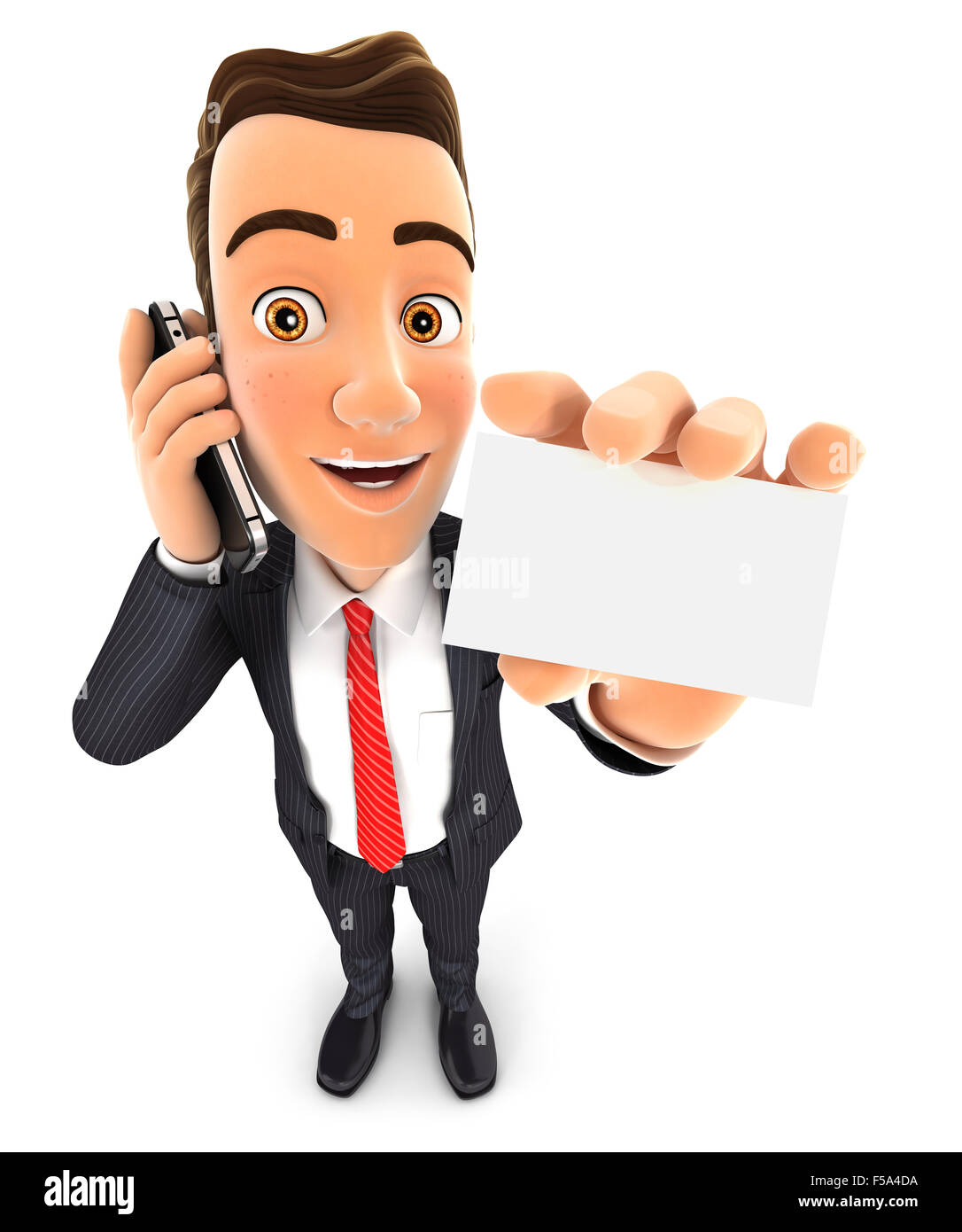 3d businessman on the phone and holds blank card, isolated white background Stock Photo