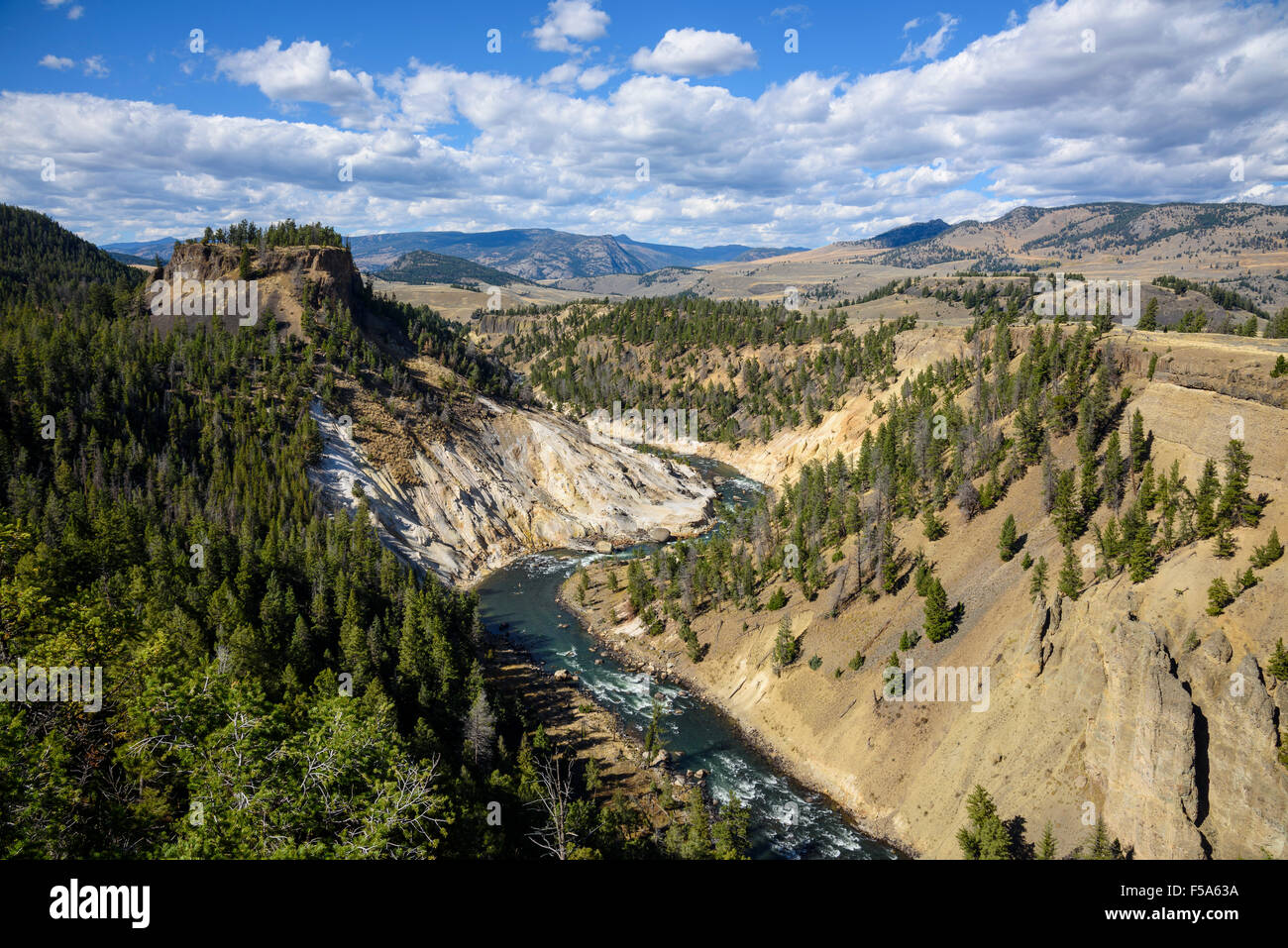 Calcite Spring Overlook, Yellowstone National Park, Wyoming, USA - Stock Image