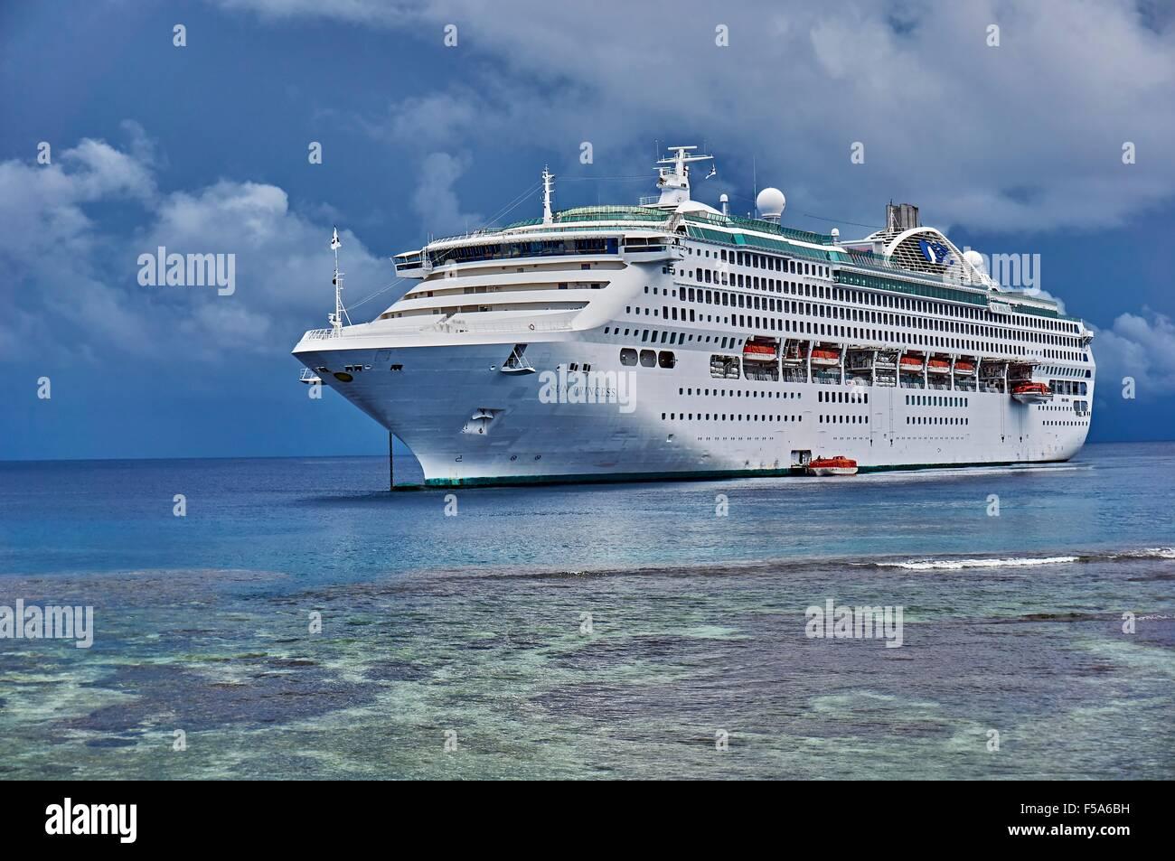Sun Princess Cruise Liner moored off Kiriwina Island PNG - Stock Image