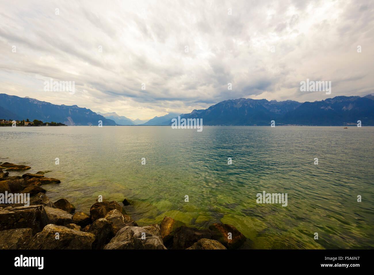 Clouds over lake Leman - Stock Image