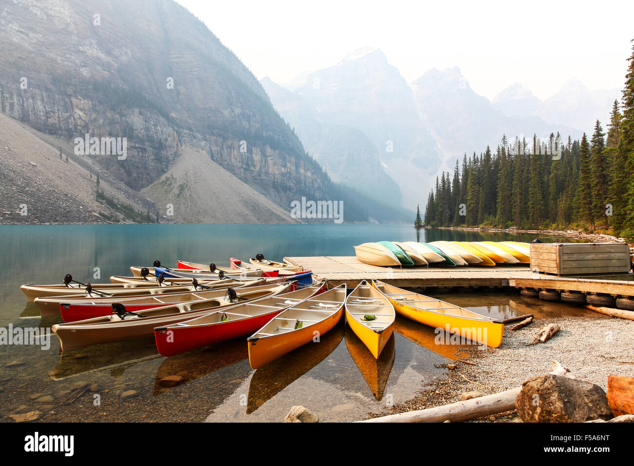 Canoes At Moraine Lake Belonging To Moraine Lake Lodge Banff