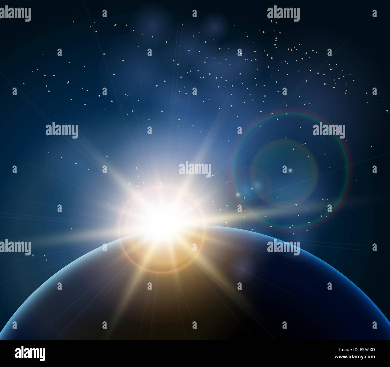 Rising Sun over the planet Earth. Illustration in realistic style - Stock Vector