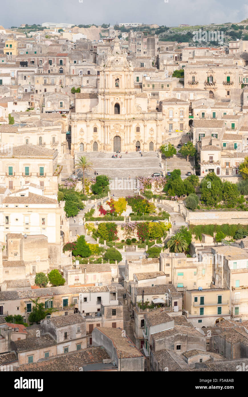 Panoramic view of Modica, with the cathedral of San Giorgio - Stock Image