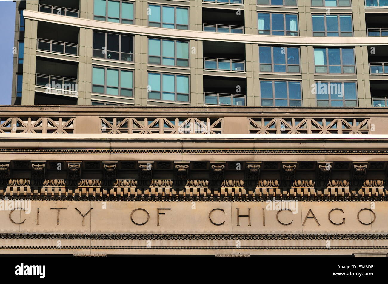 A title and symbolic image for the City of Chicago exists on the Chicago Cultural Center (formerly the Chicago Public - Stock Image
