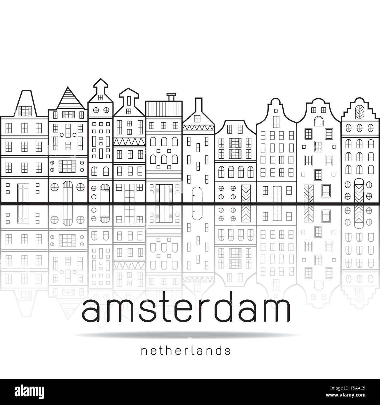 Amsterdam houses style Netherlands with reflection in the water canal - Stock Vector
