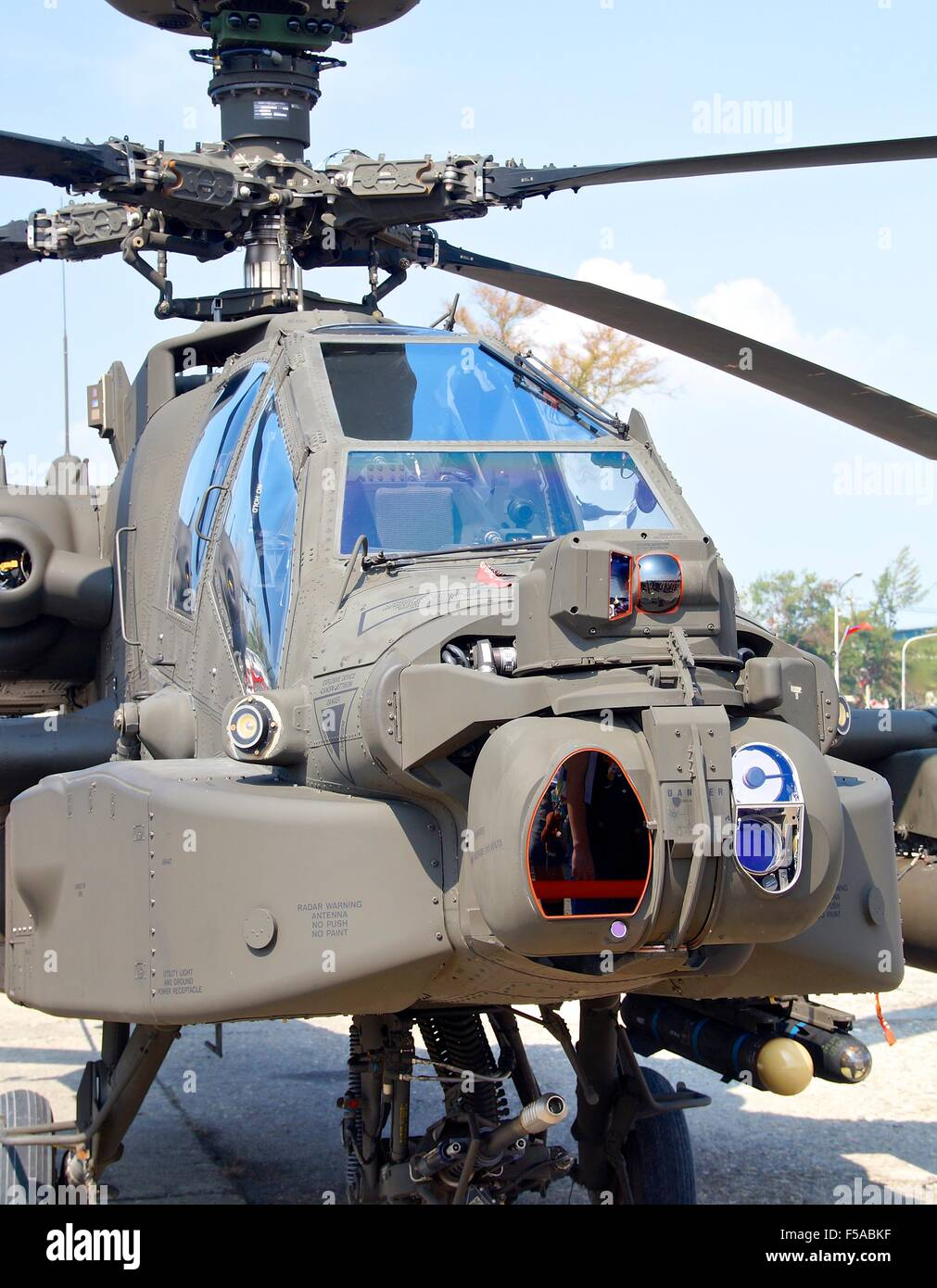 AH-64 Apache attack helicopter for opening to visitors at Kaohsiung Navy Headquarters in Taiwan. On Oct 24, 2015 - Stock Image