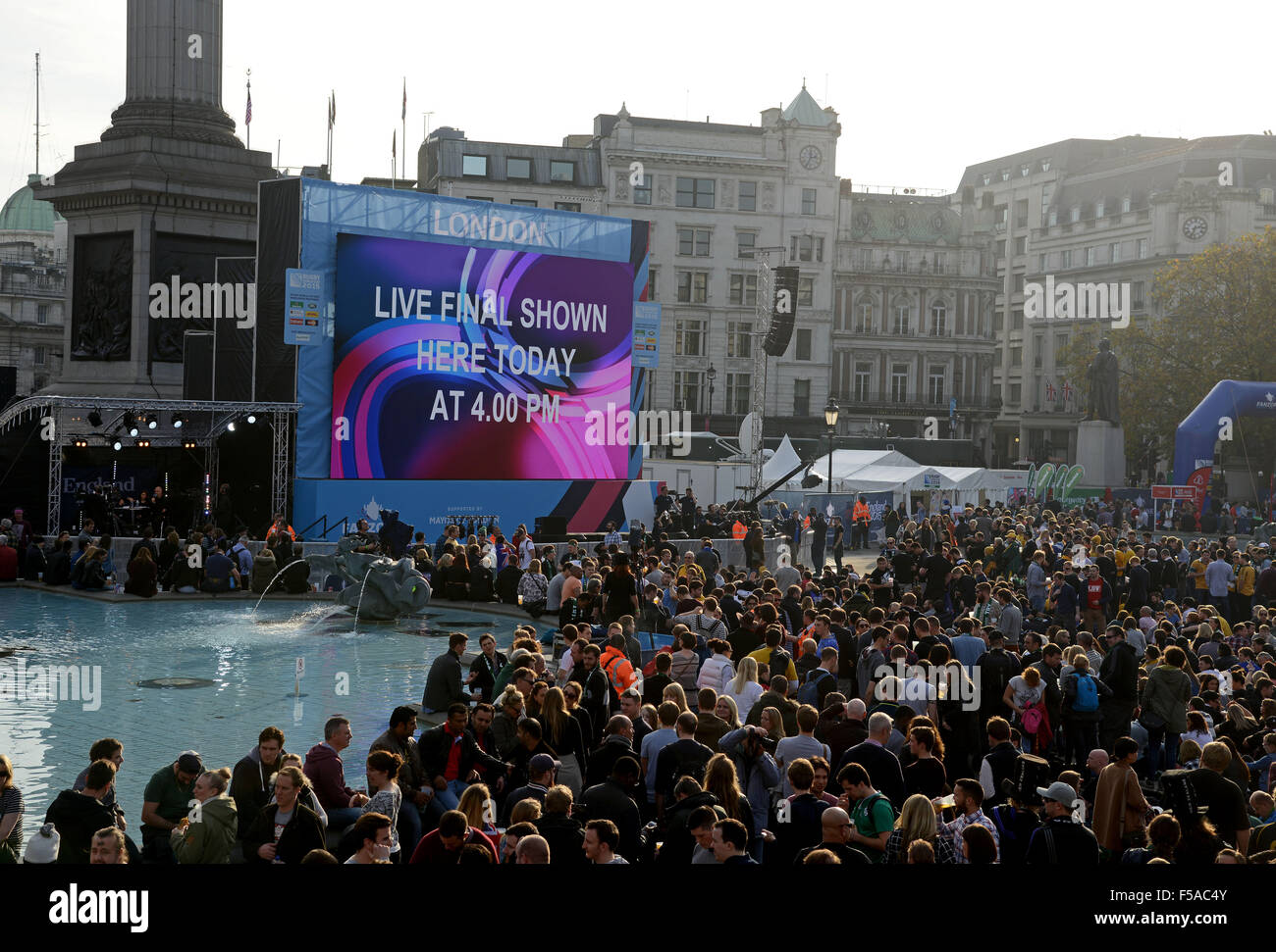 Rugby World Cup final being shown live on big screens in Trafalgar Square, London, Britain, UK - Stock Image