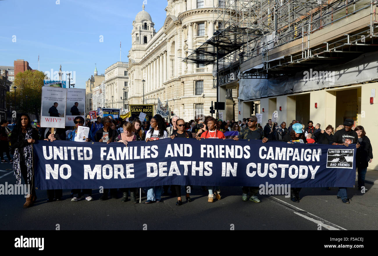United Families and Friends Campaign, No more deaths in Police Custody, protest march to Downing Street, London, - Stock Image
