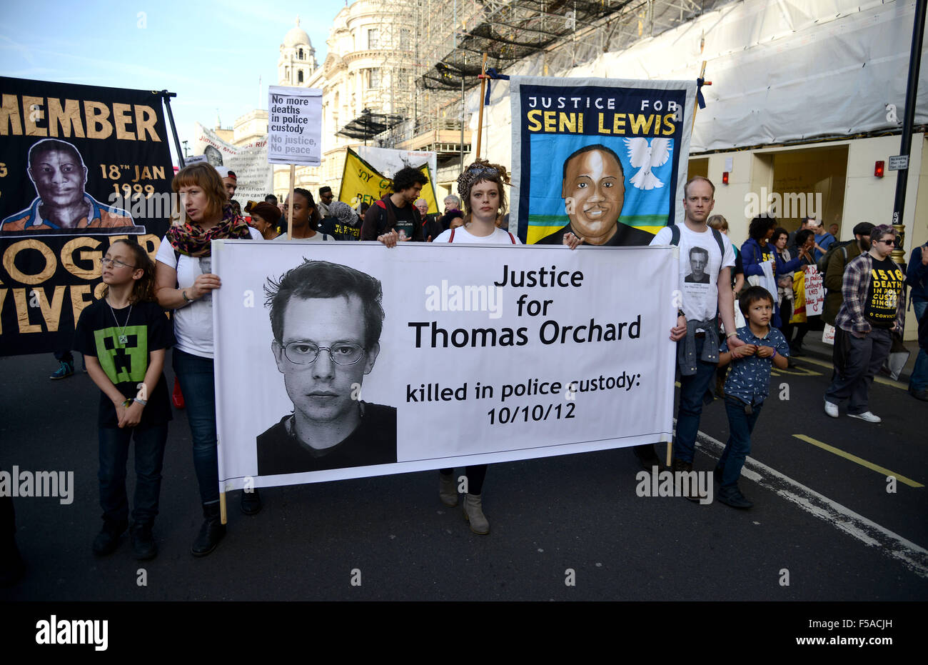 United Families and Friends Campaign, No more deaths in Police Custody, protest march to Downing Street, showing - Stock Image