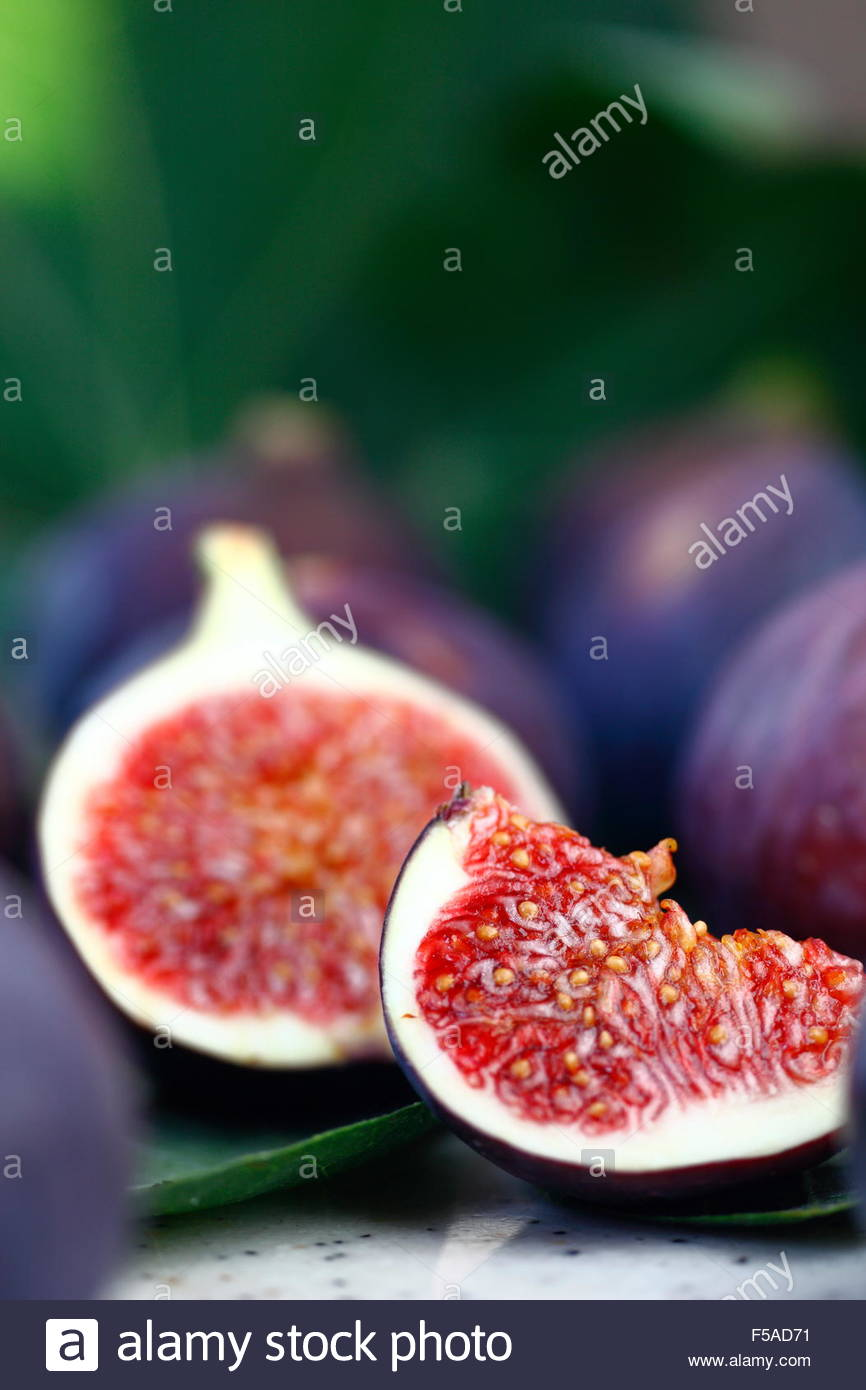 macro photographed in natural light, figs, fruits - Stock Image