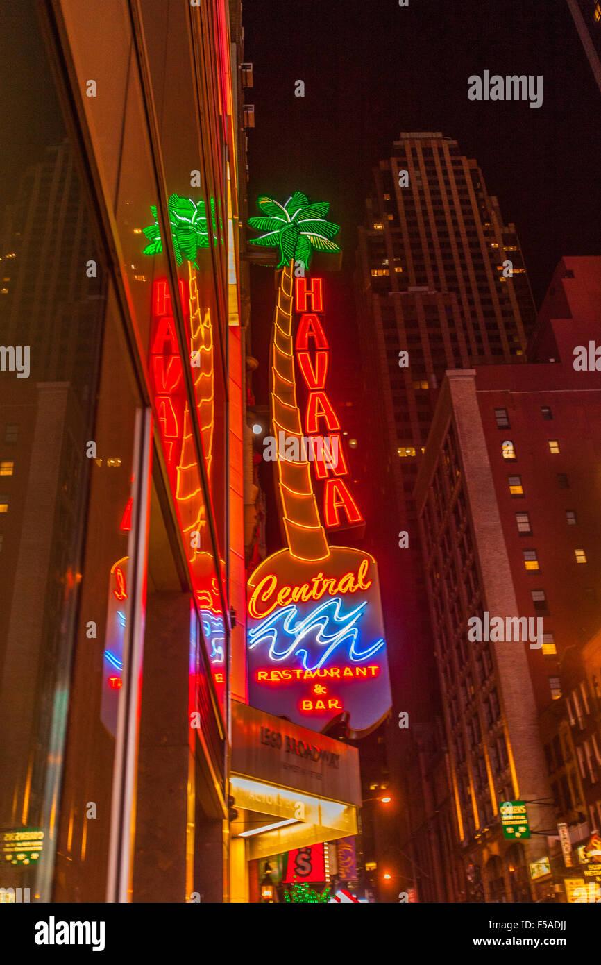 Havana Central Restaurant & Bar Cuban Food, 46th Street, Manhattan, New York City, United States of America. - Stock Image