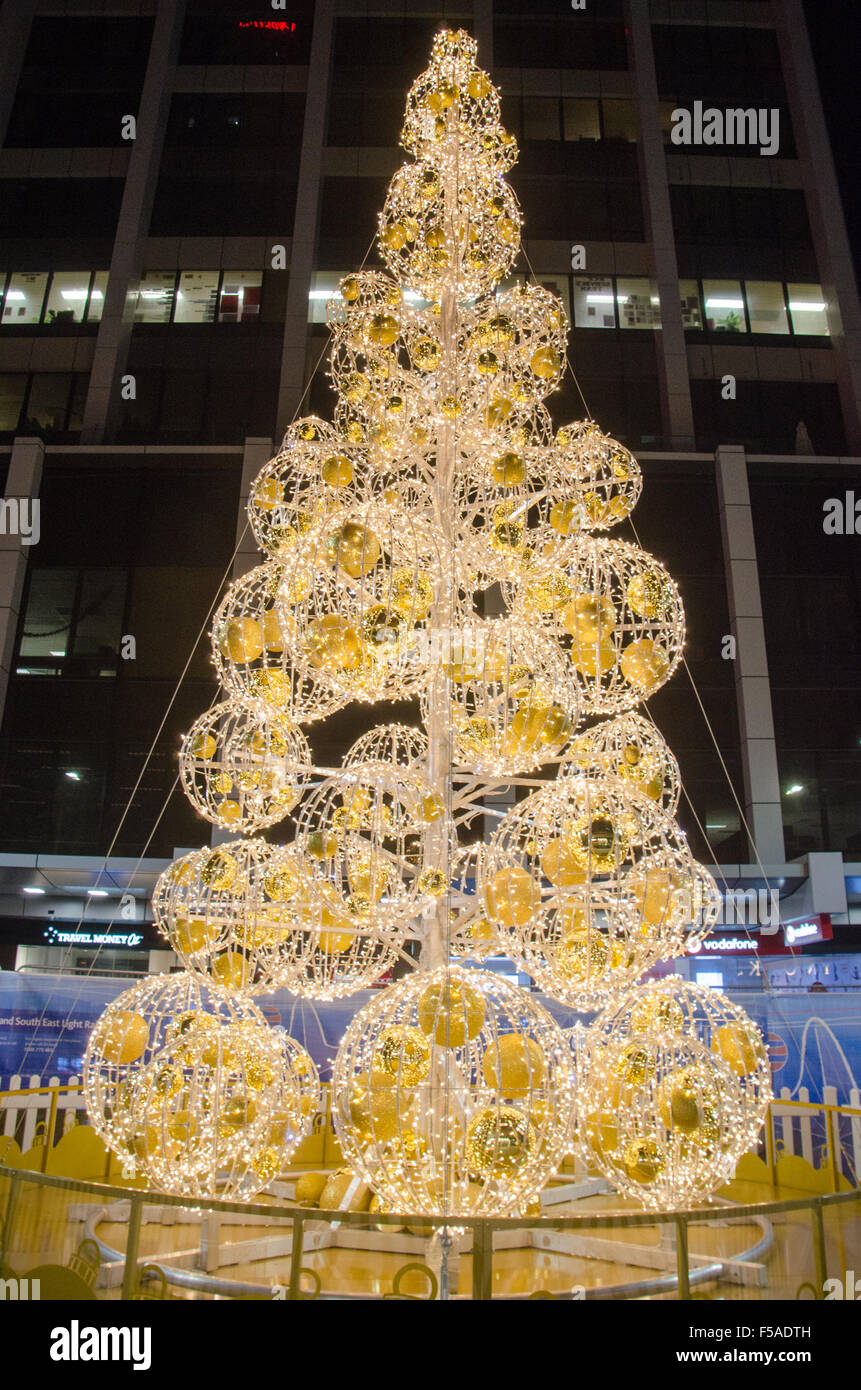 Christmas Tree Seen On George Street In Sydney Decorations Are Now Being Placed All Over Sydneys CBD And Surrounding Suburbs