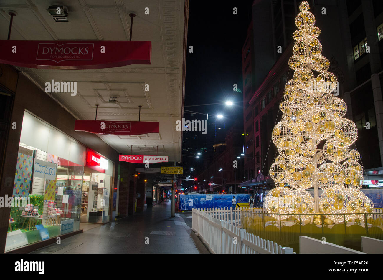 sydney australia 1st nov 2015 christmas tree seen on george street in sydney christmas decorations are now being placed all over sydneys cbd and