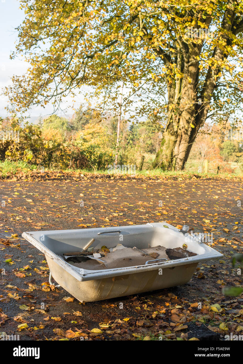 bath and builders rubble illegally dumped in beautiful rural lay by in Stirlingshire, Scotland, UK - Stock Image