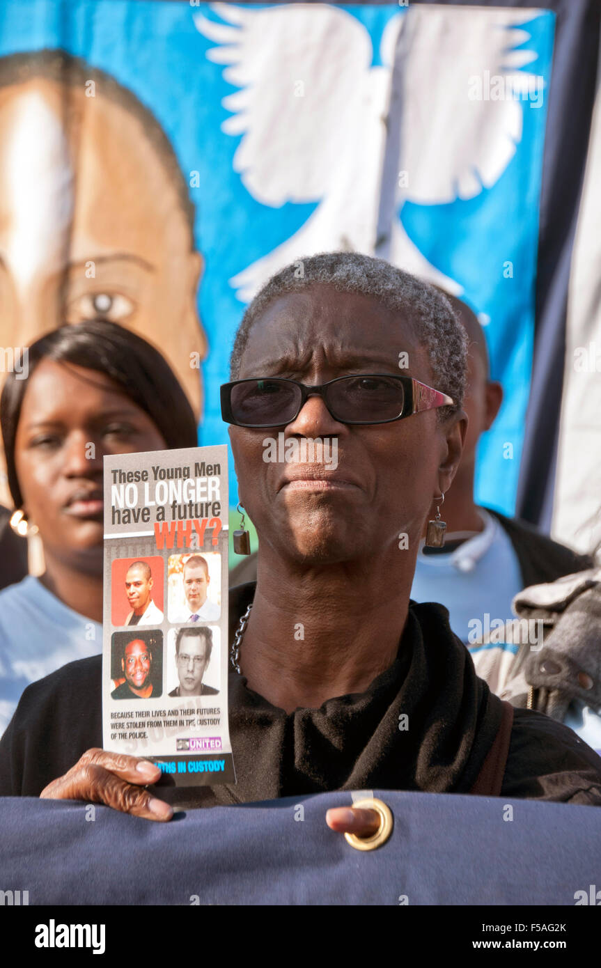 Mother of Seni Lewis killed by Brixton police. Marching at  Death in Police Custody  Campaign - Stock Image