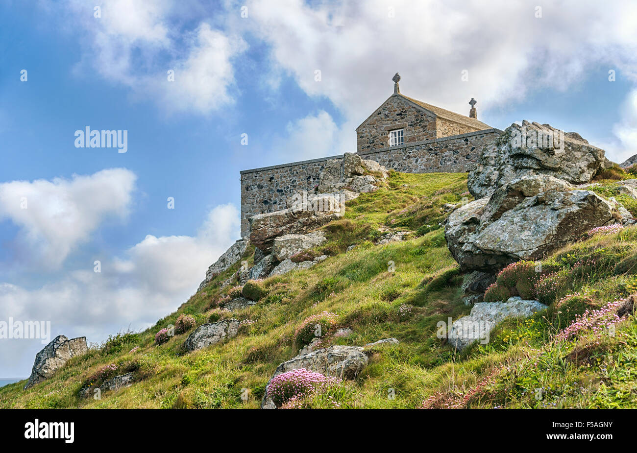 Ancient Chapel of St.Nicholas at The Island Peninsula, St.Ives, Cornwall, England, UK Stock Photo