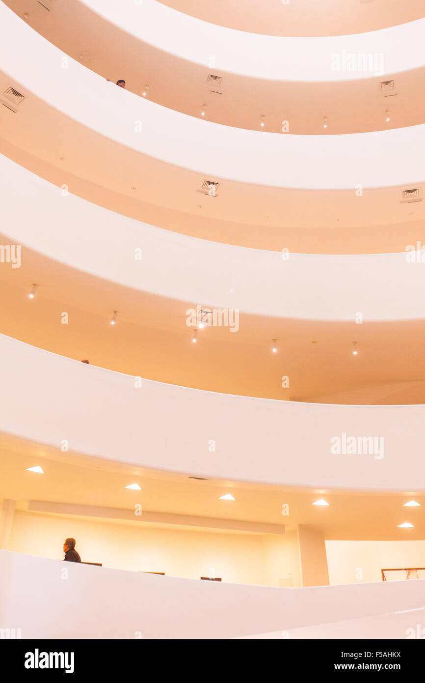 The Guggenheim Museum in New York City, United states of America. Designed by Frank lloyd Wright. - Stock Image