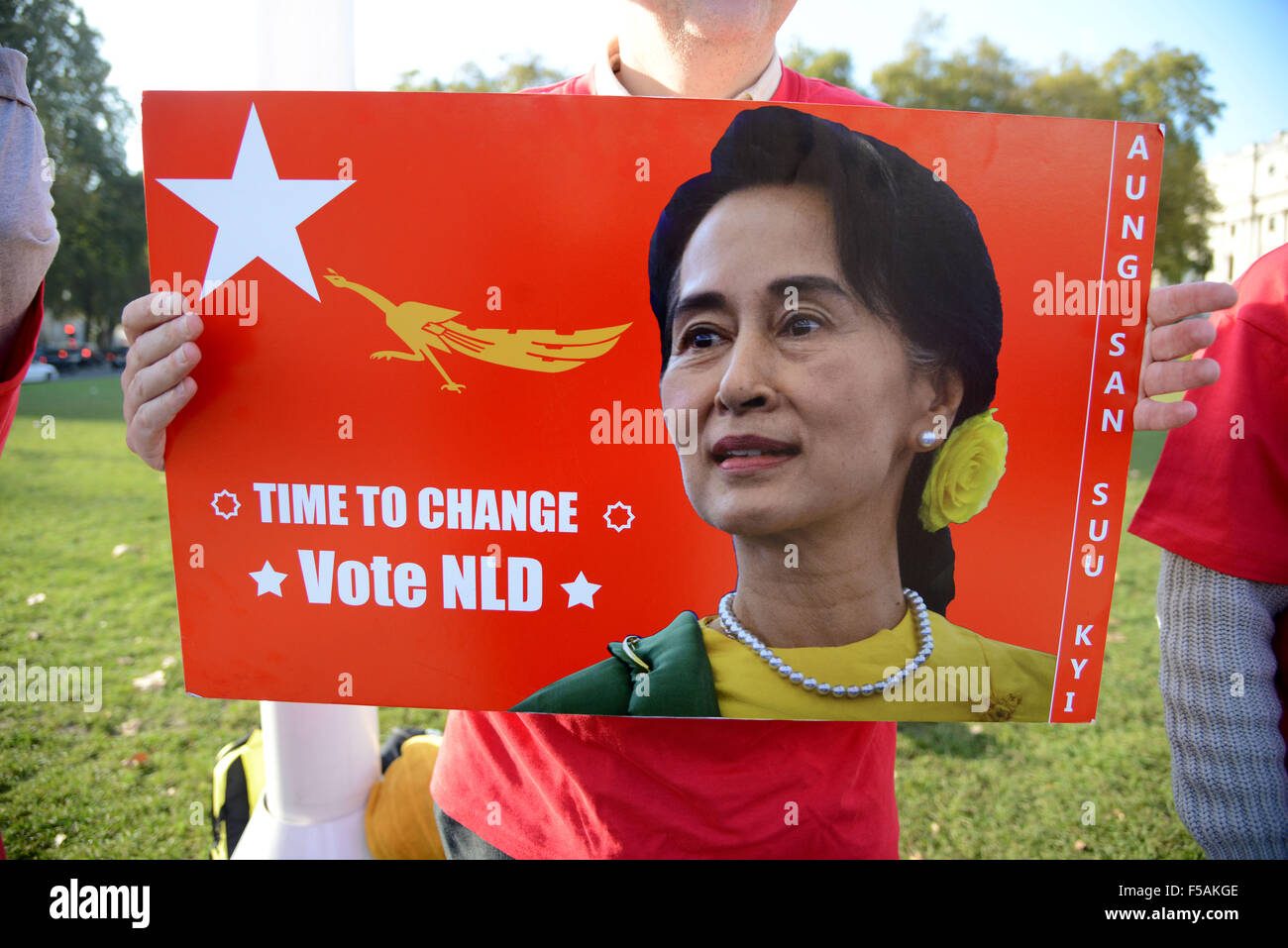 National League for Democracy in Burma campaign outside parliament in London, Britain, UK - Stock Image