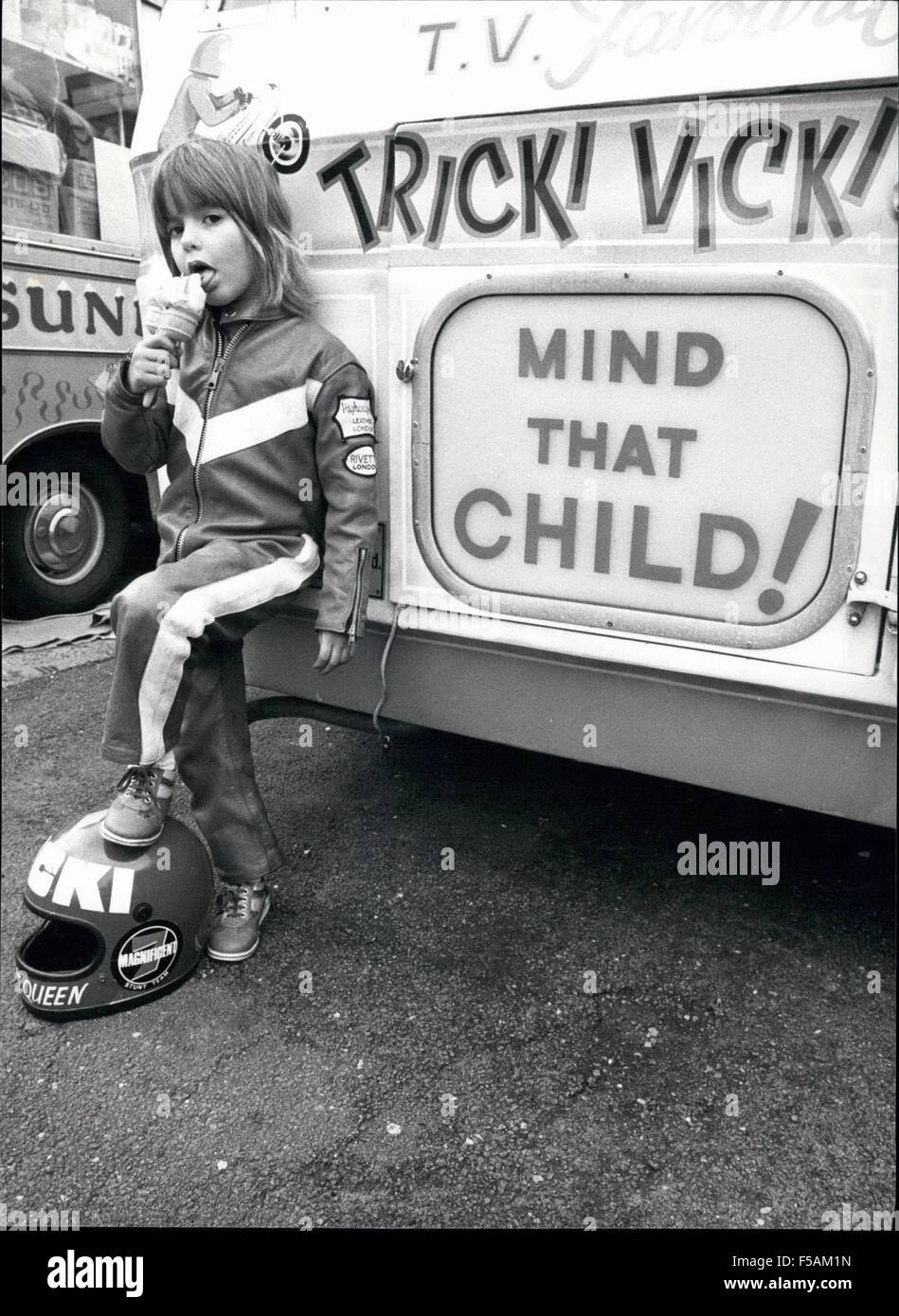 1968 - Tricky Vick is certainly ice-cool! here she is having an ice-cream from her father's ice-cream van. © - Stock Image