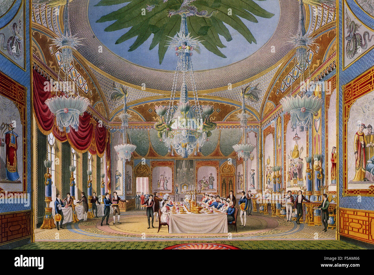 BRIGHTON PAVILION - the Banqueting Room from 'The Royal Pavilion at Brighton' published by the architect - Stock Image