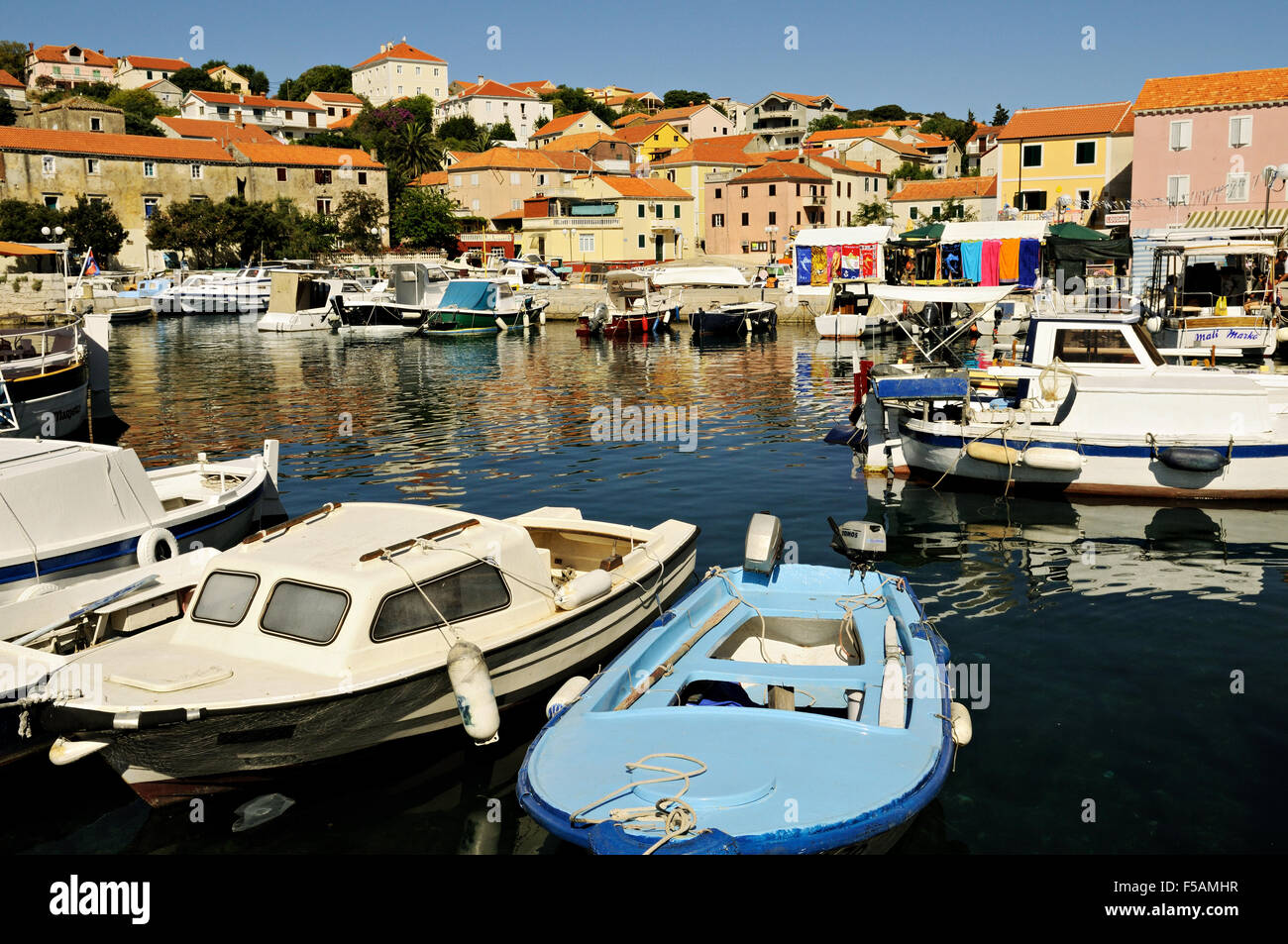 Boats in the harbor of Sali, the largest village on Dugi Otok, Zadar County, Croatia Stock Photo