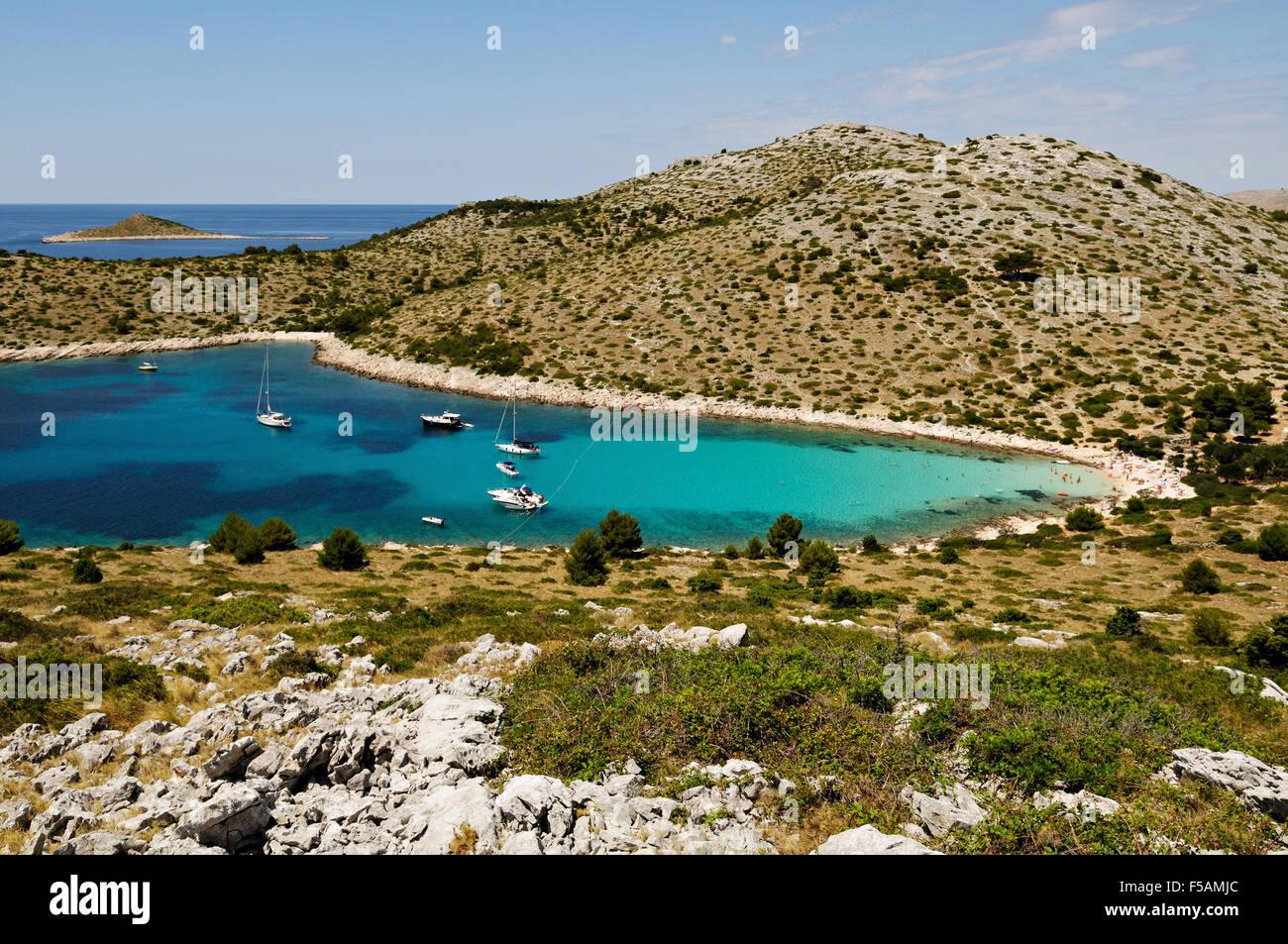 Lojena bay and beach on Levrnaka island, Kornati archipelago, Dalmatia, Croatia Stock Photo