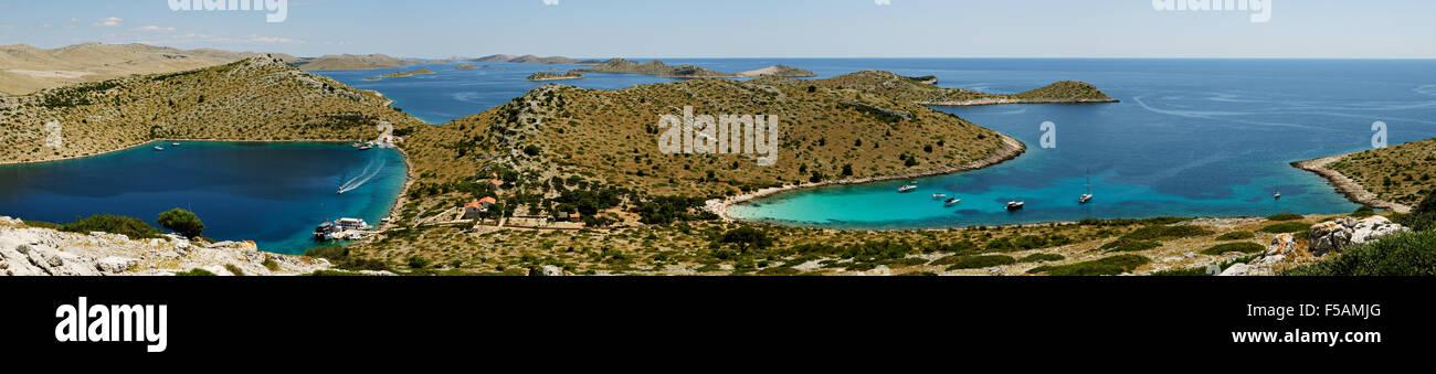 Panoramic view of the Kornati archipelago from the top of Levrnaka island, Dalmatia, Croatia - Stock Image