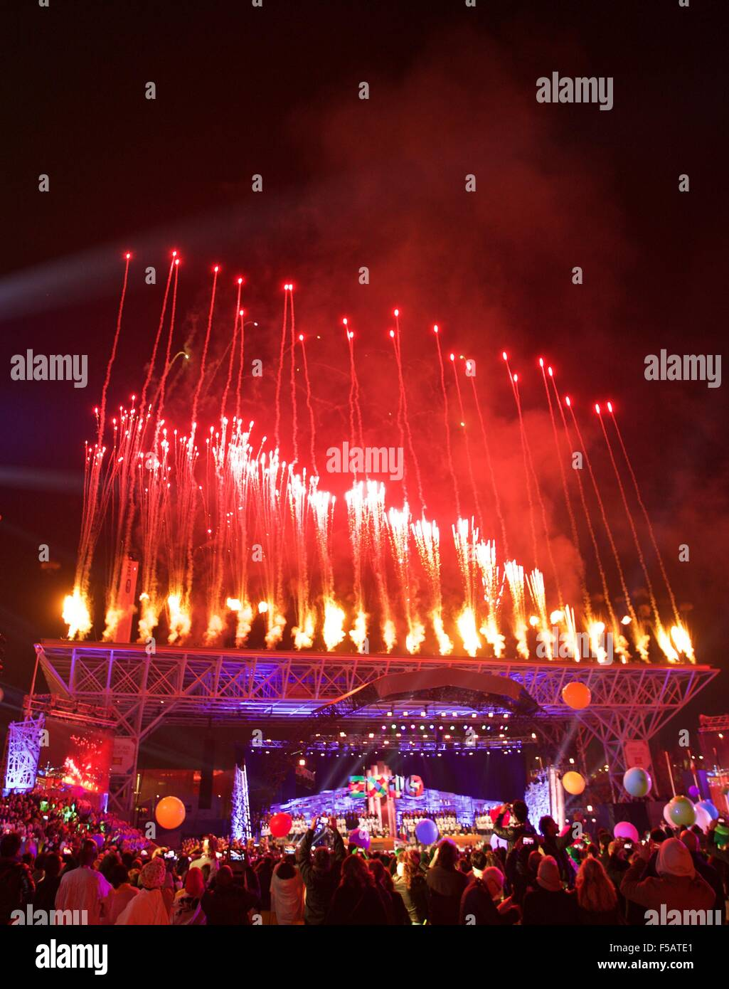 Milan, Italy. 31st Oct, 2015. Fireworks are seen during the closing ceremony of Expo Milano 2015 in Milan, Italy, - Stock Image