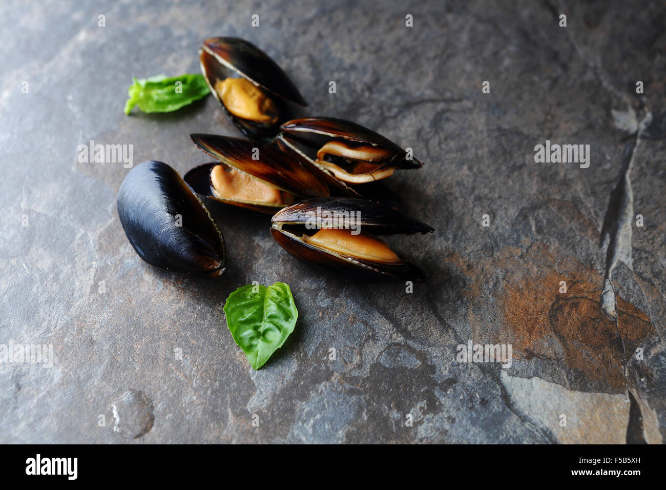 fresh cooked mussels, food top view - Stock Image