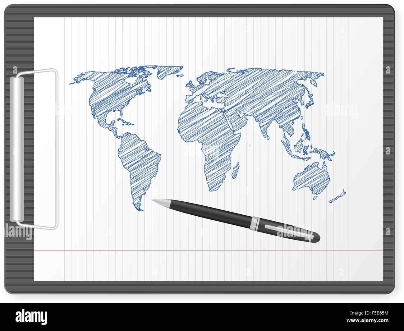 Clipboard with drawing world map vector illustration stock vector clipboard with drawing world map vector illustration gumiabroncs Image collections