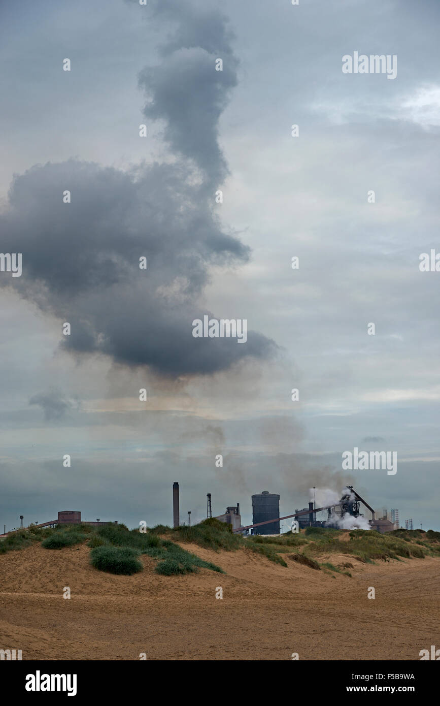 Redcar Steel Works from Coatham Sands Redcar Cleveland North Yorkshire England - Stock Image