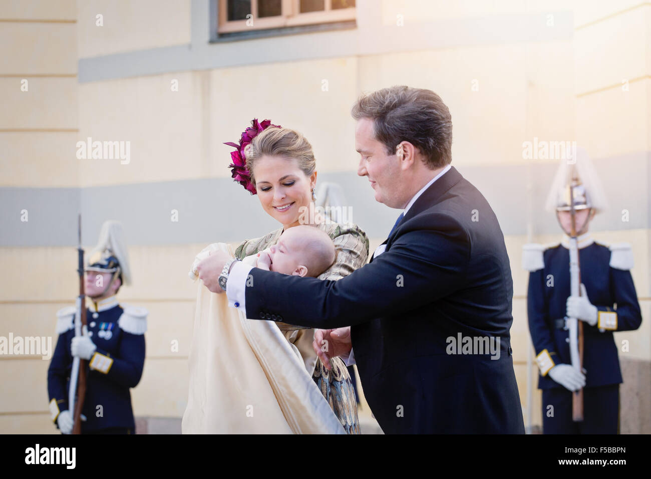 Royal Baptism in Sweden October 2015 - Princess Madeleine of Sweden, with Prince Nicolas and husband Chris O'Neill - Stock Image