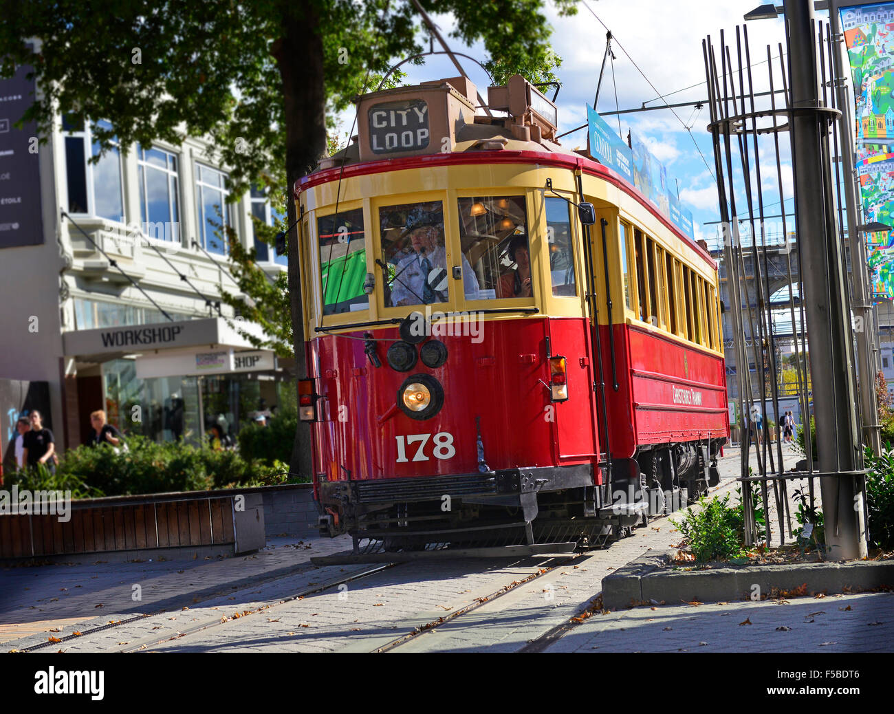 The City Trams Tours of central Christchurch continue to run despite the earthquake -the most violent quake, on Stock Photo