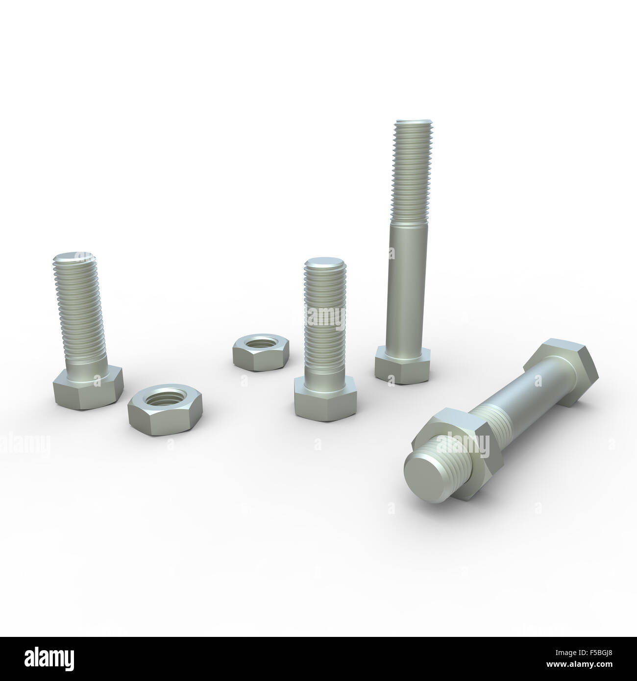 steel hexagon head threaded nuts bolts and screws on a white background - Stock Image