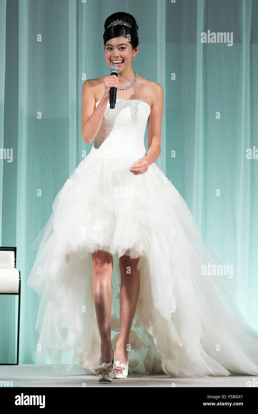 Japanese model Hikari Mori speaks during the Special Dress ...
