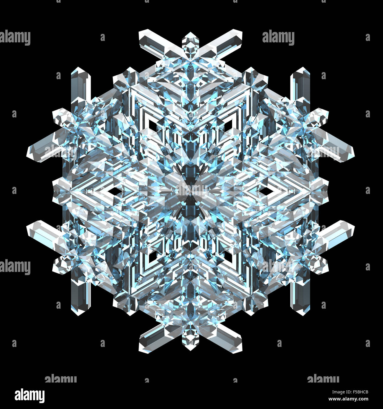 Single blue crystal snowflake on a black background - Stock Image