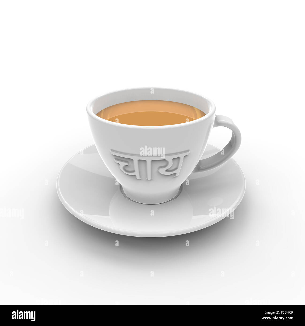 White Cup And Saucer With Tea Written In Hindi On The Side And Stock Photo Alamy