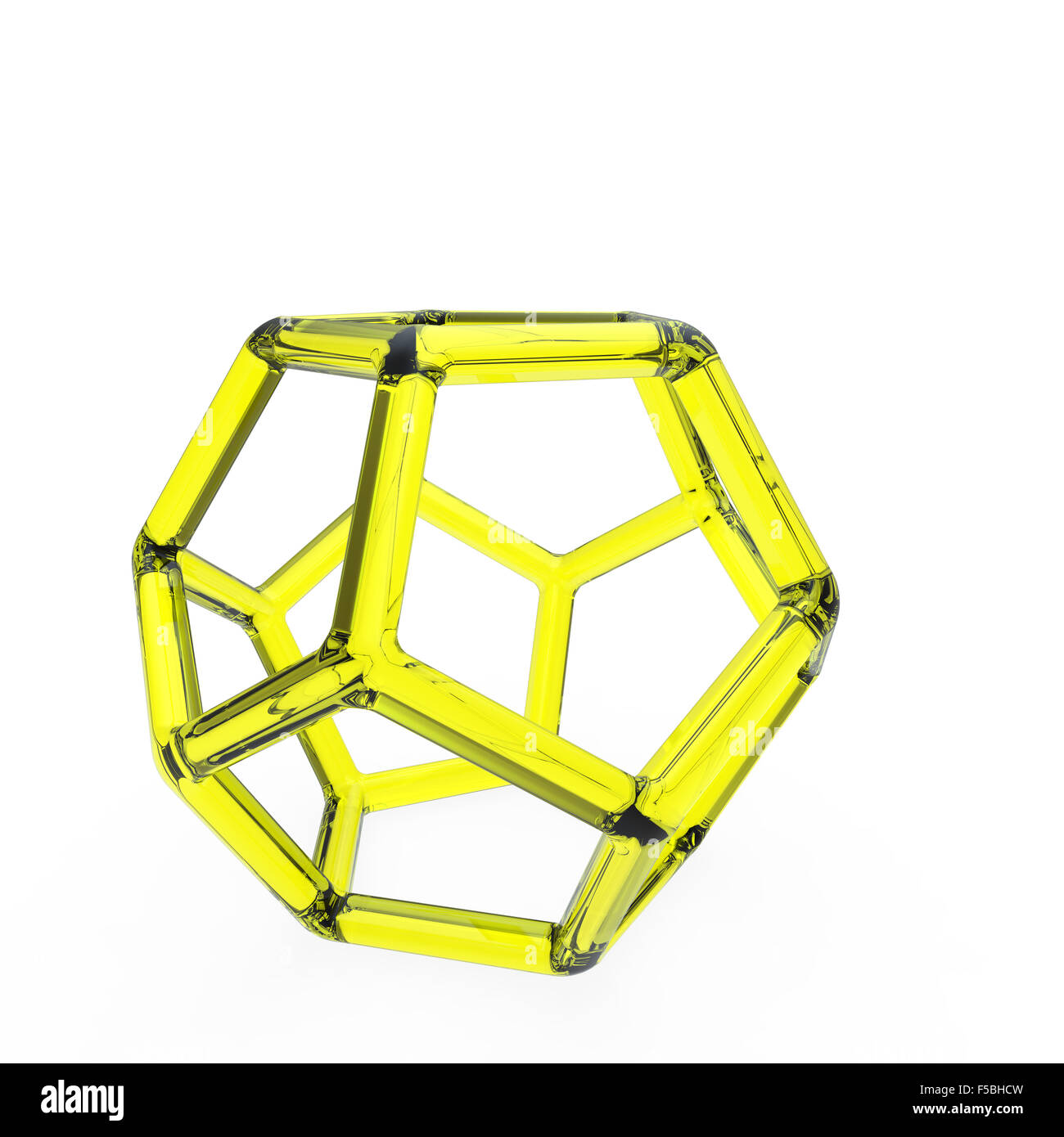 3d yellow plastic dodecahedron with transparent frame on white background - Stock Image