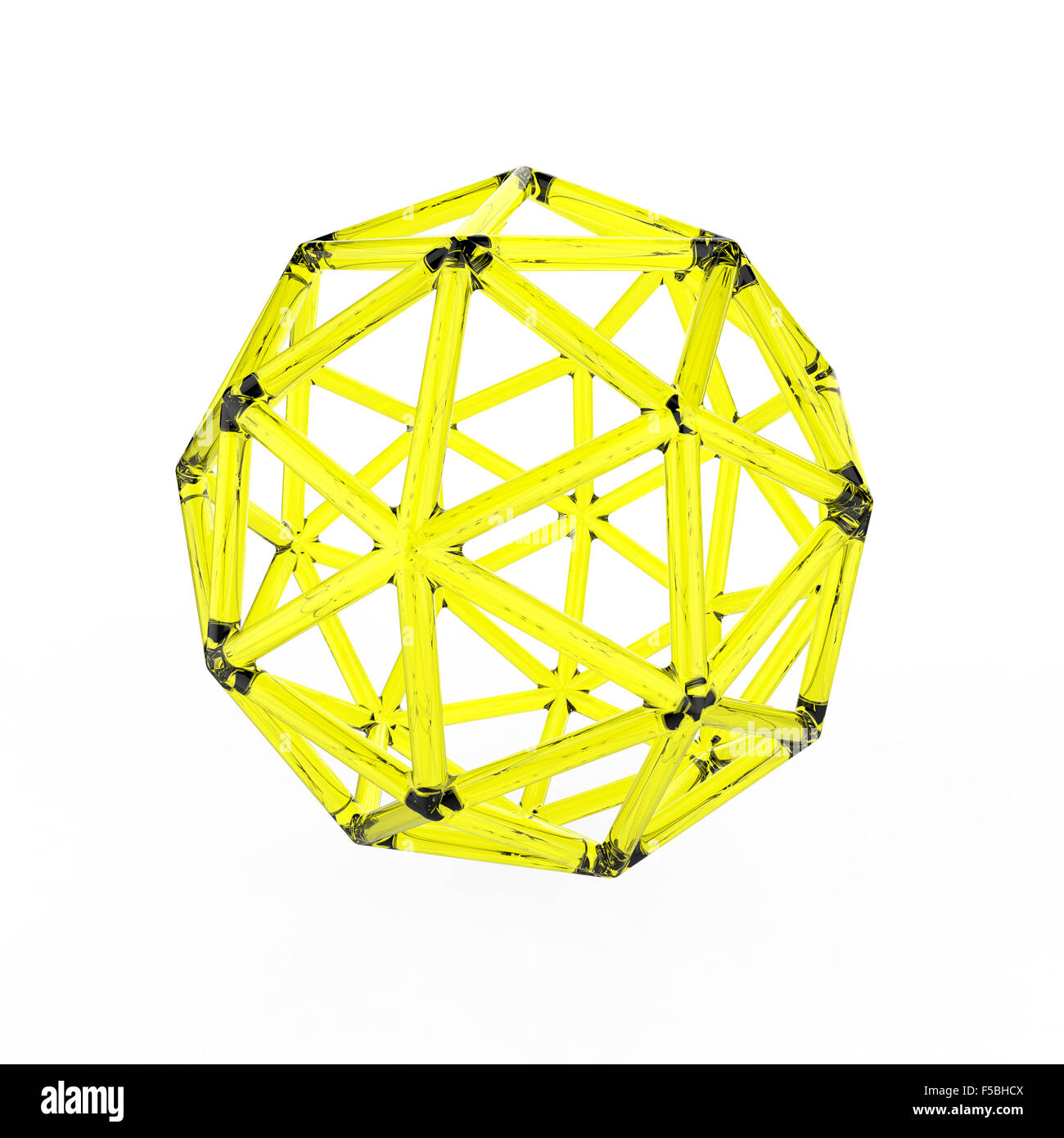 3d yellow plastic glass pentakis dodecahedron with transparent frame on white background - Stock Image