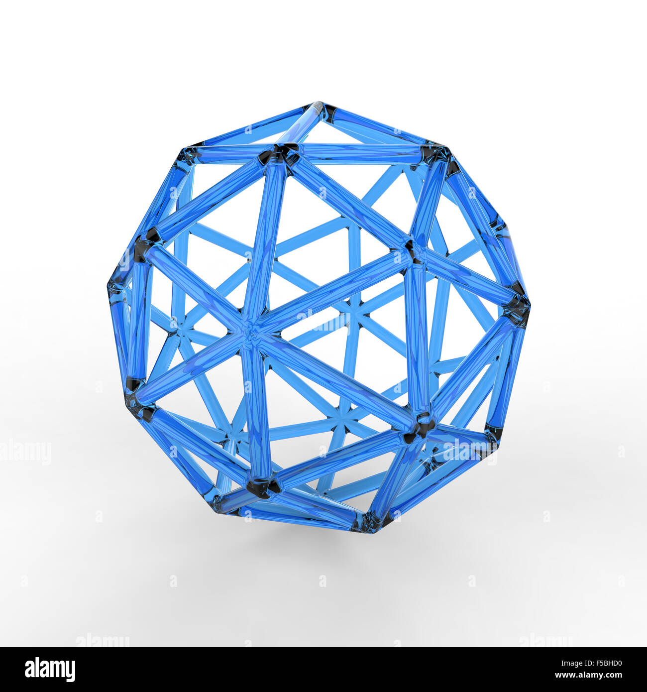 3d blue plastic glass pentakis dodecahedron with transparent frame on white background - Stock Image