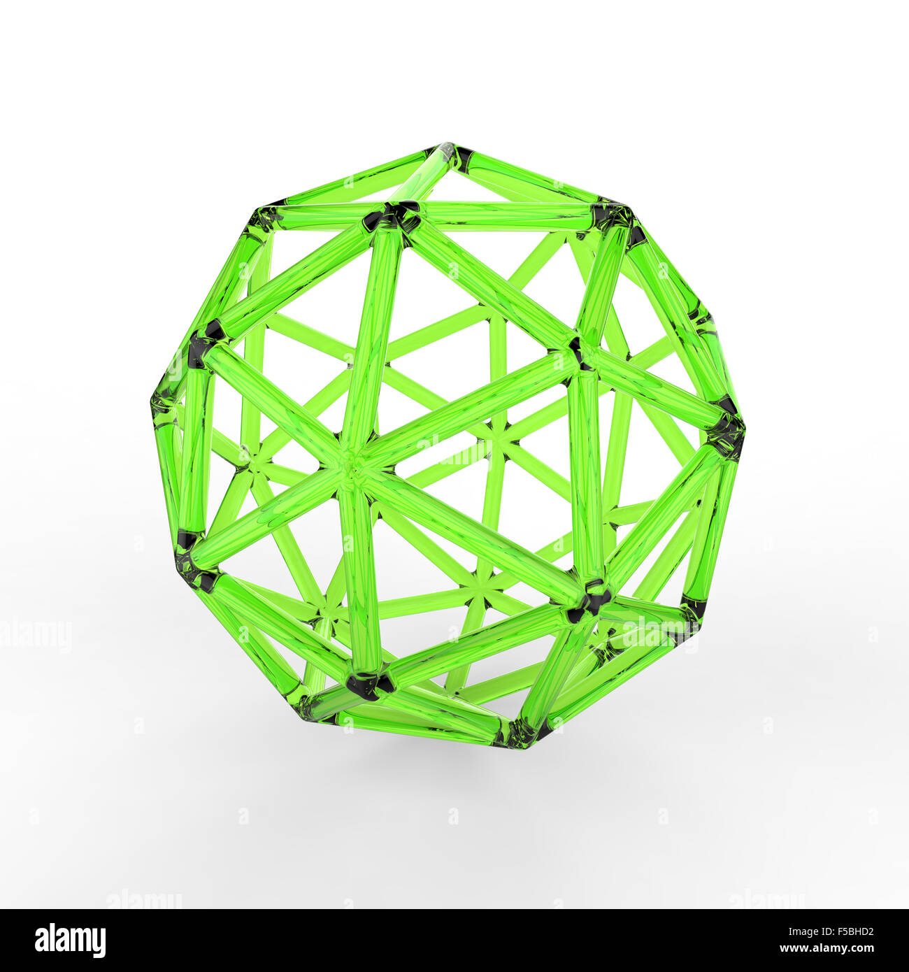 3d green plastic glass pentakis dodecahedron with transparent frame on white background - Stock Image