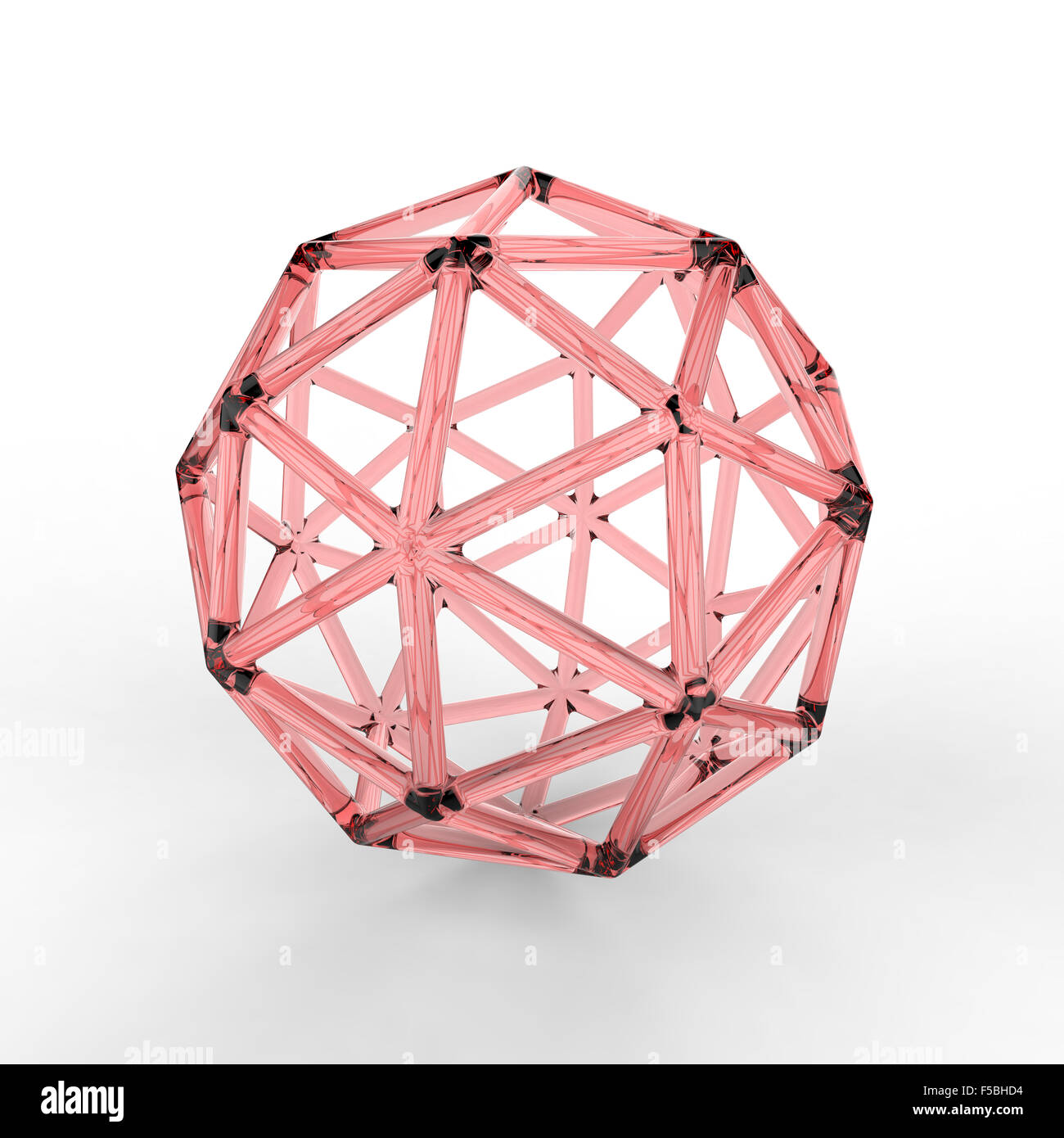 3d red plastic glass pentakis dodecahedron with transparent frame on white background - Stock Image