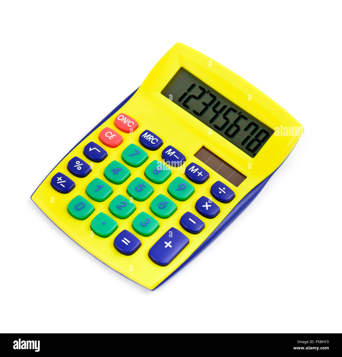 Modern calculator yellow colored isolated on white Stock Photo
