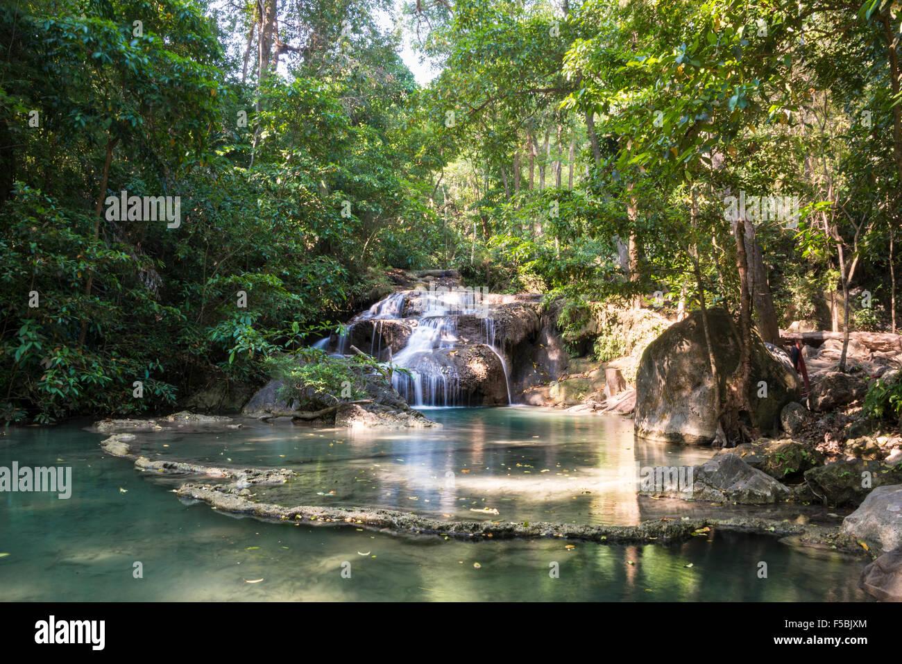 Waterfall in Erawan National Park, Kanchanaburi Province, Thailand - Stock Image