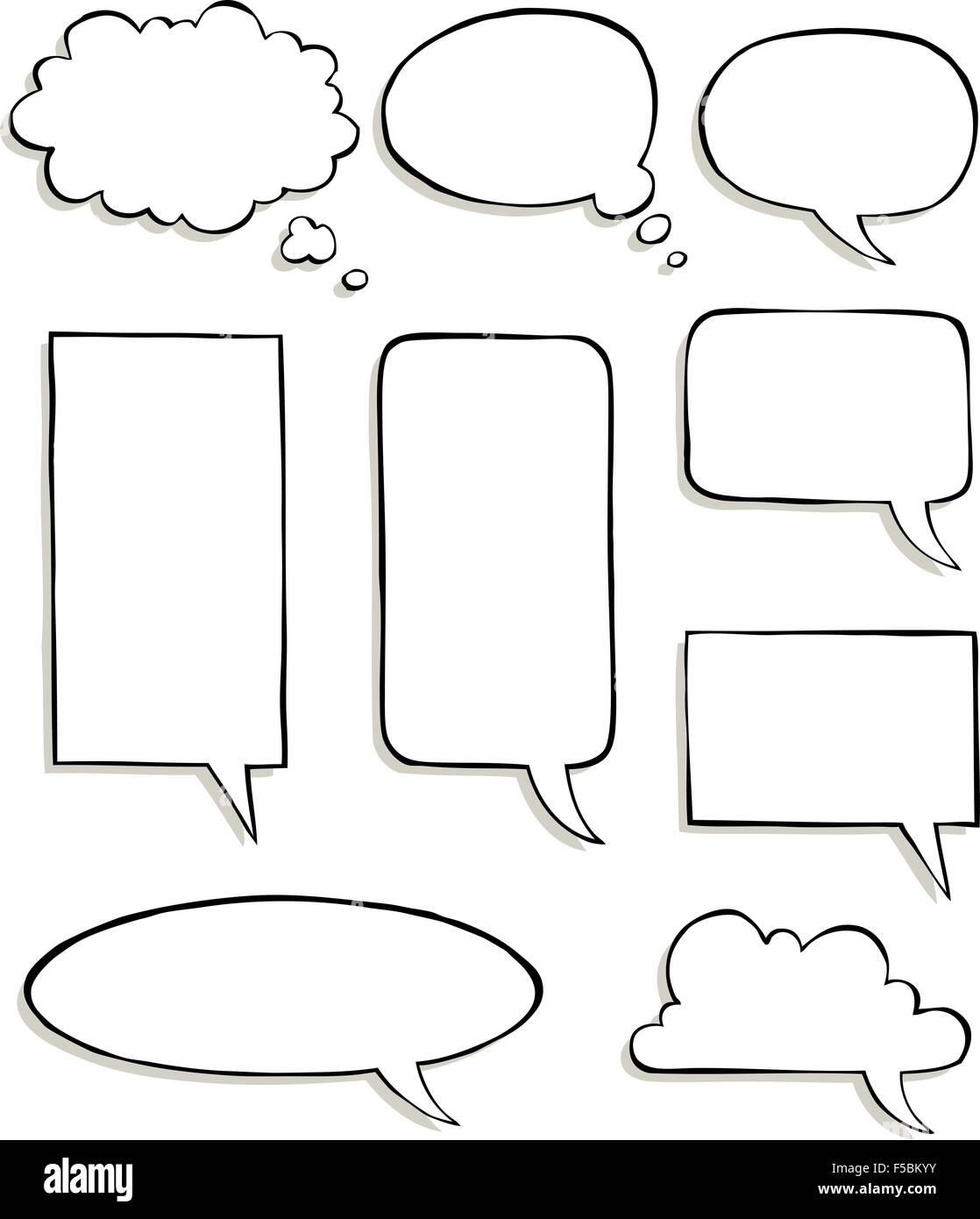 Set of comic speech bubbles vector illustration - Stock Vector
